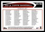 2012 Topps Update #192  Josh Hamilton  Back Thumbnail