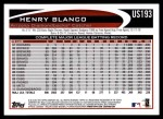 2012 Topps Update #193  Henry Blanco  Back Thumbnail