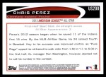2012 Topps Update #200  Chris Perez  Back Thumbnail
