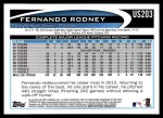 2012 Topps Update #203  Fernando Rodney  Back Thumbnail