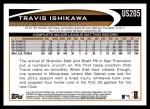 2012 Topps Update #205  Travis Ishikawa  Back Thumbnail