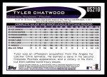 2012 Topps Update #210  Tyler Chatwood  Back Thumbnail
