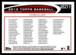 2012 Topps Update #211  Matt Cain  Back Thumbnail