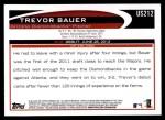 2012 Topps Update #212  Trevor Bauer  Back Thumbnail