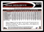2012 Topps Update #215  Brian Bogusevic  Back Thumbnail