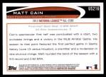 2012 Topps Update #216  Matt Cain  Back Thumbnail