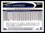 2012 Topps Update #217  Matt Guerrier  Back Thumbnail