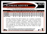 2012 Topps Update #218  Alfredo Aceves  Back Thumbnail