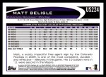 2012 Topps Update #224  Matt Belisle  Back Thumbnail