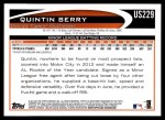 2012 Topps Update #229  Quintin Berry  Back Thumbnail