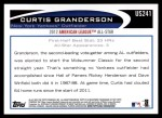 2012 Topps Update #241  Curtis Granderson  Back Thumbnail