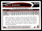 2012 Topps Update #244  Matt Downs  Back Thumbnail