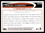 2012 Topps Update #246  Miguel Cabrera  Back Thumbnail
