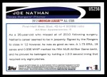 2012 Topps Update #256  Joe Nathan  Back Thumbnail