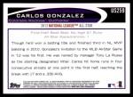 2012 Topps Update #259  Carlos Gonzalez  Back Thumbnail