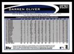 2012 Topps Update #261  Darren Oliver  Back Thumbnail