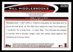 2012 Topps Update #265  Will Middlebrooks  Back Thumbnail