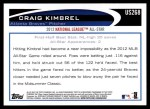 2012 Topps Update #268  Craig Kimbrel  Back Thumbnail