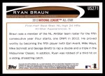 2012 Topps Update #271  Ryan Braun  Back Thumbnail