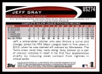 2012 Topps Update #274  Jeff Gray  Back Thumbnail