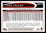 2012 Topps Update #275  Todd Frazier  Back Thumbnail