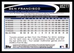 2012 Topps Update #277  Ben Francisco  Back Thumbnail