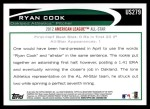 2012 Topps Update #279  Ryan Cook  Back Thumbnail