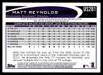 2012 Topps Update #281  Matt Reynolds  Back Thumbnail