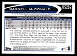 2012 Topps Update #282  Darnell McDonald  Back Thumbnail