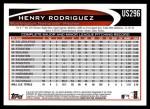 2012 Topps Update #296  Henry Rodriguez  Back Thumbnail