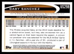 2012 Topps Update #298  Gaby Sanchez  Back Thumbnail
