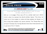2012 Topps Update #305  David Price  Back Thumbnail