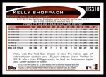 2012 Topps Update #310  Kelly Shoppach  Back Thumbnail