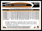 2012 Topps Update #313  Wandy Rodriguez  Back Thumbnail