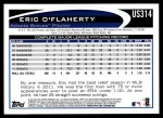 2012 Topps Update #314  Eric O'Flaherty  Back Thumbnail