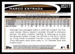 2012 Topps Update #317  Marco Estrada  Back Thumbnail