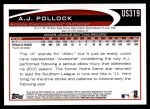 2012 Topps Update #319  A.J. Pollock  Back Thumbnail