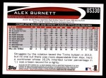 2012 Topps Update #330  Alex Burnett  Back Thumbnail