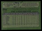1982 Topps #133  Pat Underwood  Back Thumbnail