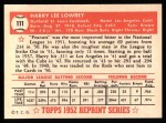 1952 Topps REPRINT #111  Peanuts Lowrey  Back Thumbnail