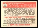 1952 Topps REPRINT #105  Johnny Pramesa  Back Thumbnail