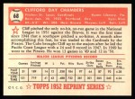 1952 Topps REPRINT #68  Cliff Chambers  Back Thumbnail