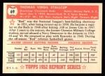 1952 Topps REPRINT #69  Virgil Stallcup  Back Thumbnail