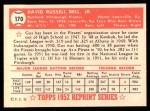 1952 Topps REPRINT #170  Gus Bell  Back Thumbnail