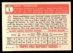 1952 Topps REPRINT #3  Hank Thompson  Back Thumbnail