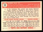 1952 Topps REPRINT #100  Del Rice  Back Thumbnail