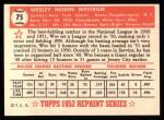 1952 Topps REPRINT #75  Wes Westrum  Back Thumbnail