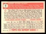 1952 Topps REPRINT #14  Bob Elliott  Back Thumbnail