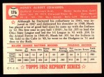 1952 Topps REPRINT #176  Hank Edwards  Back Thumbnail