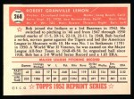 1952 Topps REPRINT #268  Bob Lemon  Back Thumbnail